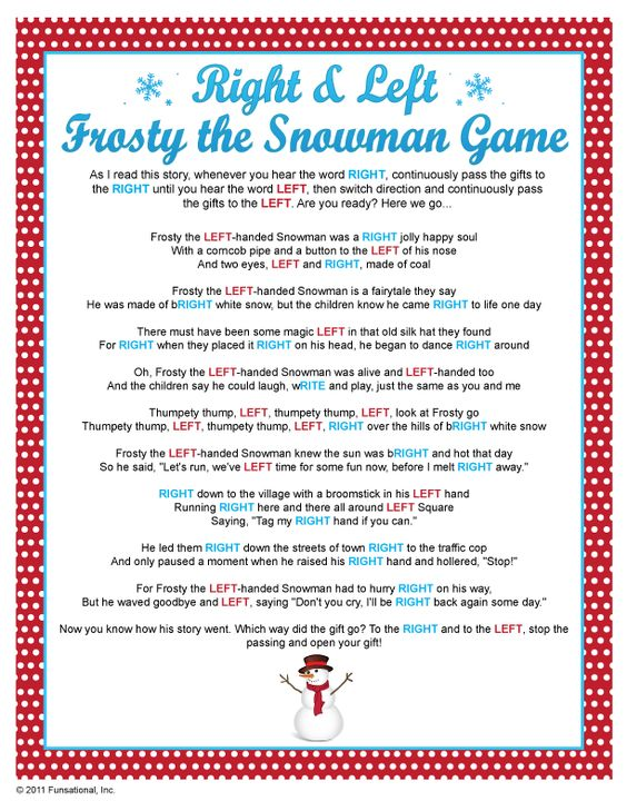 Right & Left Frosty the Snowman Game...fun game for kiddos and grown-ups alike!  just use dollar gifts for the kiddos...can even adapt it for a birthday party game! (take home gifts)