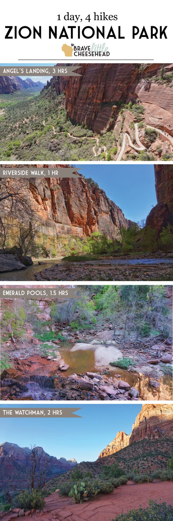 If you only have one day at Zion National Park in Utah, one of the state's Mighty Five National Parks, you can still tackle four of the most spectacular hikes.