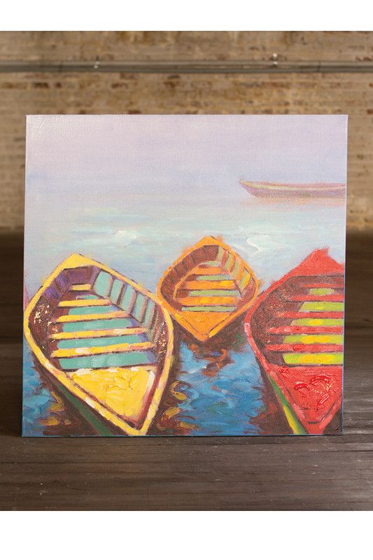 3 colorful boats / oil painting