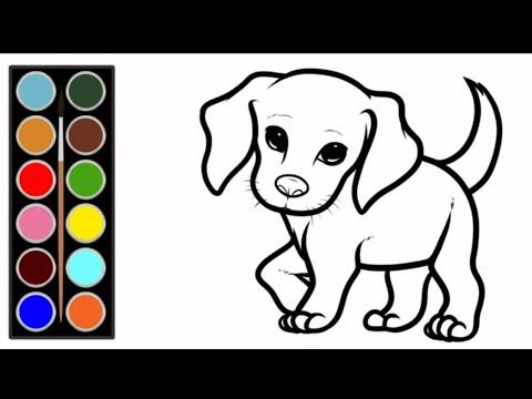 Dog Coloring. Dog Drawing . Dog Color Page. Learn To Draw Dog. رسم و تلوين.  كلب - YouTube Dog Coloring Page, Coloring For Kids, Coloring Pages