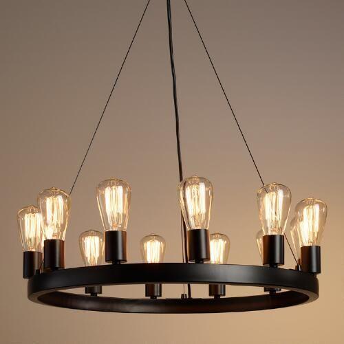 round 12 light edison bulb chandelier eat in kitchen