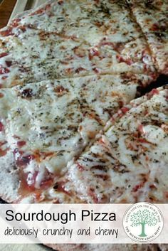 Deliciously crunchy and chewy at the same time, this sourdough pizza crust will keep you coming back for more! The Homesteading Hippy #homesteadhippy #sourdough
