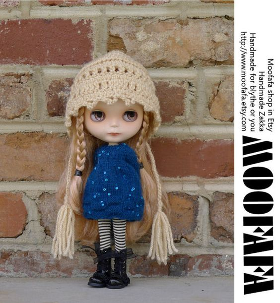 Royal Blue Sweater Dress Blythe knitting Dress by moofafa
