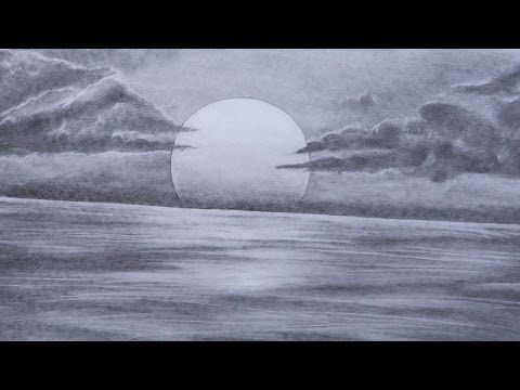 Realistic Island Drawing With Pencil Charcoal Guam Youtube Cloud Drawing Realistic Drawings Ocean Drawing