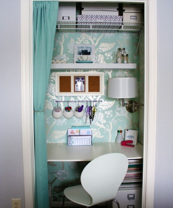 Work the Closet: Extra closets are a blessing not to be taken lightly, and we're not just talking about storing clothes. Hack a small closet into an open desk for privacy and smart space usage.