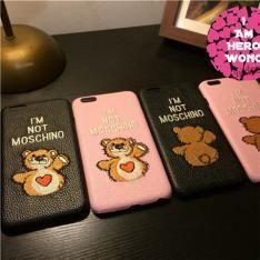 正規品MOSCHINOテディベア熊クマ革貼りスマホケースiPhone7/7 Plus/iPhone6s Plus本革刺繍i6ハードケース携帯カバー