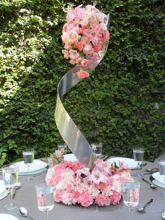 Arreglo en espiral para mesa de boda decor ideas - Arreglos florales artificiales centros de mesa ...