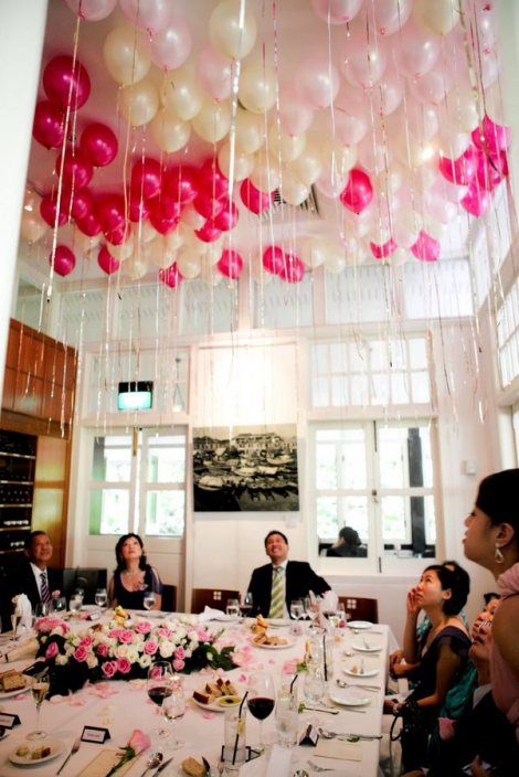 Balloons decor fill the balloons with helium and tie your for Balloon decoration for ceiling