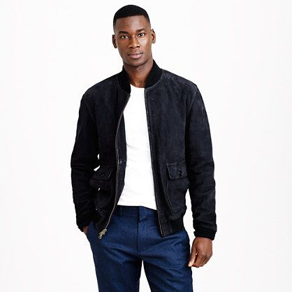 my man wears suede bomber jackets. J.Crew men fashion black