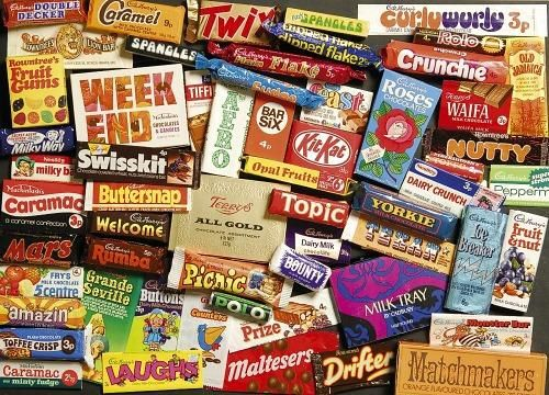 Old British chocolate bars and sweets from the 70s
