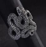 Silver viper snake ring