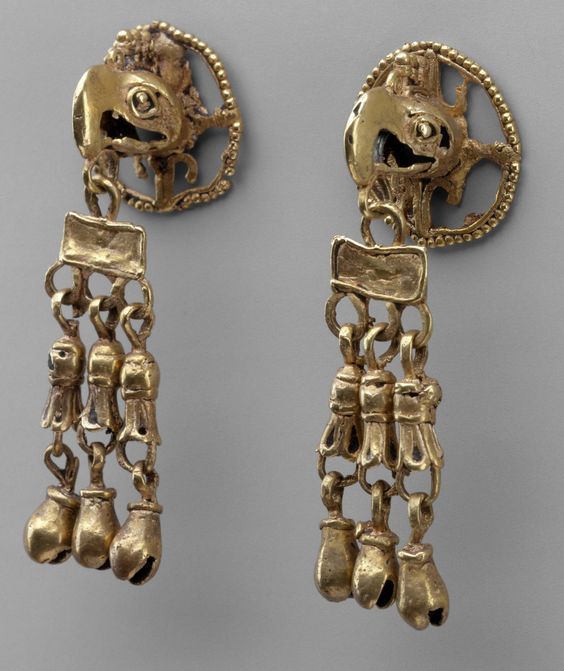 Mexico, Mesoamerica | Pair of Ear Ornament Frontals ~ Aztec or Mixtec | 15th - 16th century | Gold.