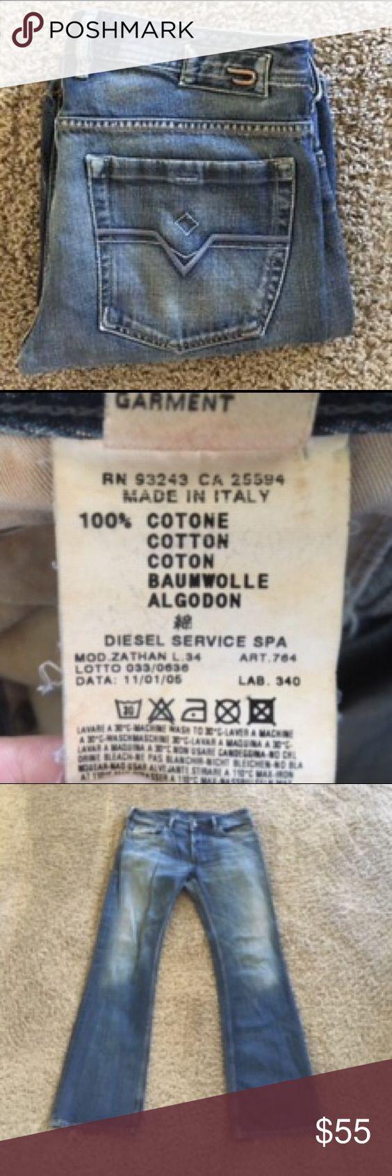 """Diesel Zathan men's Jean in size 32 Diesel Zathan men's jeans in size 32 inseam 34 1/2"""" and rise 8 1/2"""" Diesel Jeans Straight"""