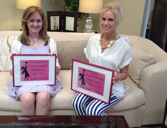 Brittany Boiteux and Brittany Williams proudly show off their Interior  Design Internship certificates. Good job
