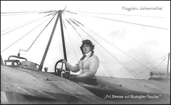 Amelie Hedwig Boutard-Beese, dit Melli Beese, first German woman pilot, license number 115