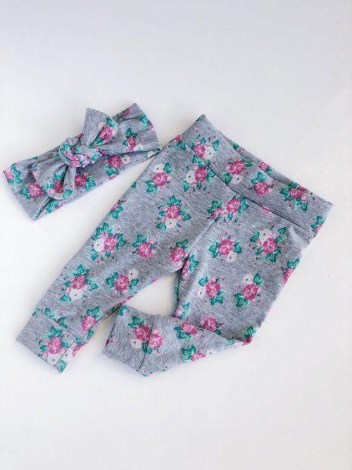 Floral baby leggings and headband set newborn leggings newborn take home baby pants baby girl leggings cotton baby leggings baby