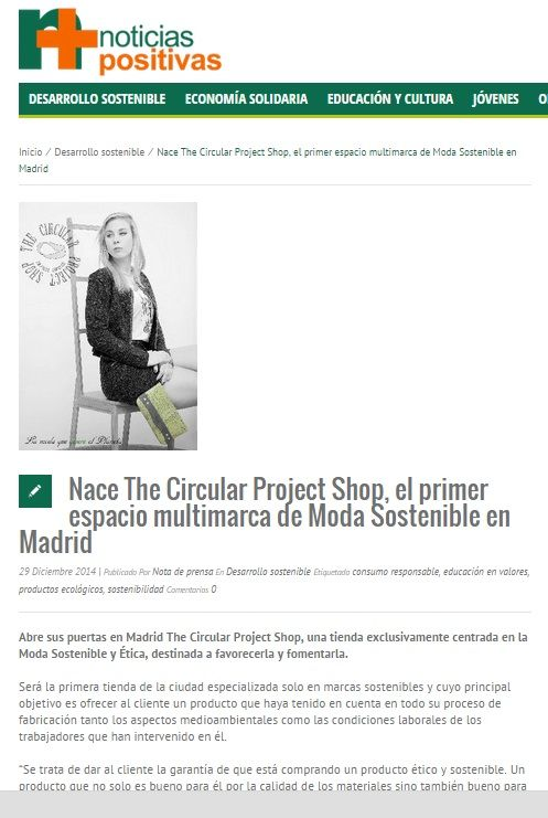 Noticias Positivas   - 29/12/2014  The Circular Project Shop