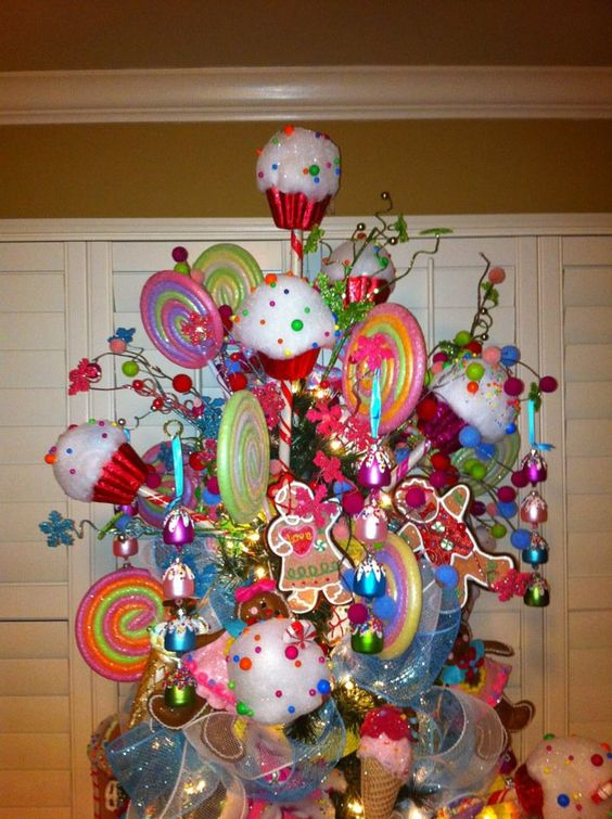 Candy christmas trees trees and candy on pinterest Over the top christmas tree decorations