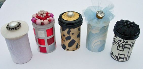 old film canisters, decorated to give gifts in!: