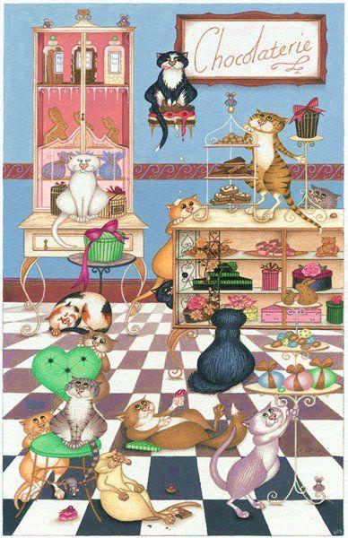 gatos golosos, ilustración de Linda Jane Smith: