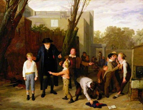 Teacher breaking up a fight, 1815