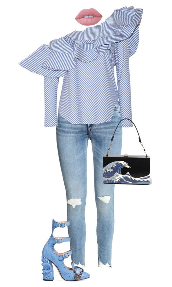 """Come Thru Blue."" by ms-ashmarie ❤ liked on Polyvore featuring Johanna Ortiz, Gucci and Lime Crime"