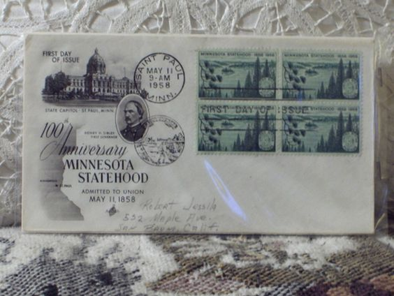 http://ajunkeeshoppe.blogspot.com/  First Day Issue / Cover - Stamp - Minnesota Statehood 1958 3c 8ozP725B4HP1189