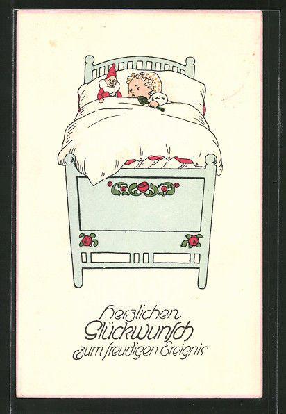alte AK Herzlichen Glückwunsch zum freudigen Ereignis, Neugeborenes im Bett in Sammeln & Seltenes, Ansichtskarten, Motive | eBay