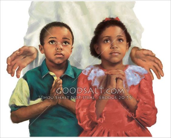 Hands of Jesus appear around two children at prayer