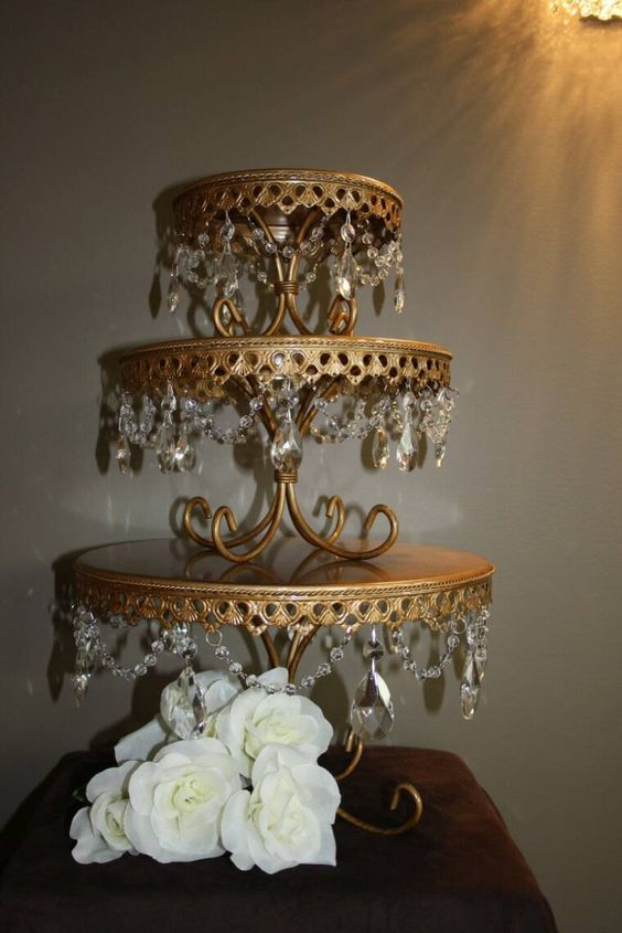 Aglow Weddings & Events.  Gold Toned and Crystal Cake Stands