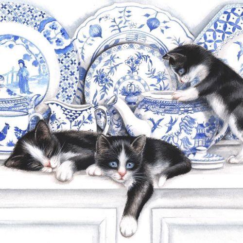 4x Paper Napkins for Decoupage Decopatch Vintage Black Cats