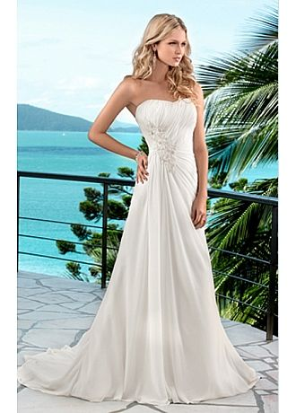 Elegant Chiffon A-line Scoop Chaple Wedding Dress For Your Beach Wedding.