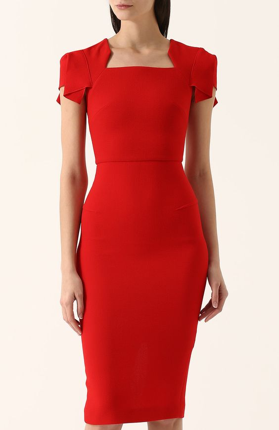 Женское красное однотонное платье-футляр с коротким рукавом ROLAND MOURET — купить за 117500 руб. в интернет-магазине ЦУМ, арт. PS18/S0174/F4044