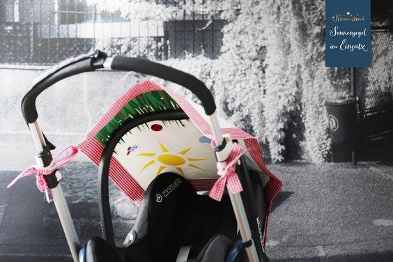 Sonnensegel mit Sommerwiese auf der Innenseite zum Träumen im Kinderwagen - außen klassisch zeitlos in rot weiß mit sehr hohem Sonnenschutz für das Kleine. So kann Babys 1. Sommer - daheim, im Urlaub, am Strand, in den Bergen genossen werden!  Passt auch ins Auto und auf die Babyschale. Sehr schönes Geburtsgeschenk!