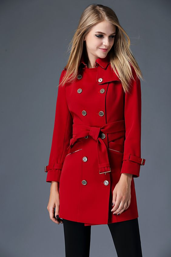 Double-breasted trench coat, red