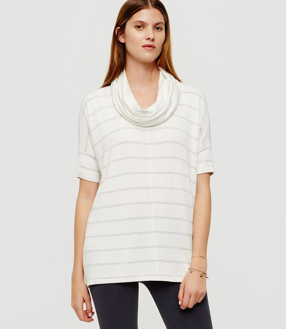 OU & GREY STRIPED SIGNATURESOFT COWL TOP, women, fashion, clothing, clothes, style, fall fashion
