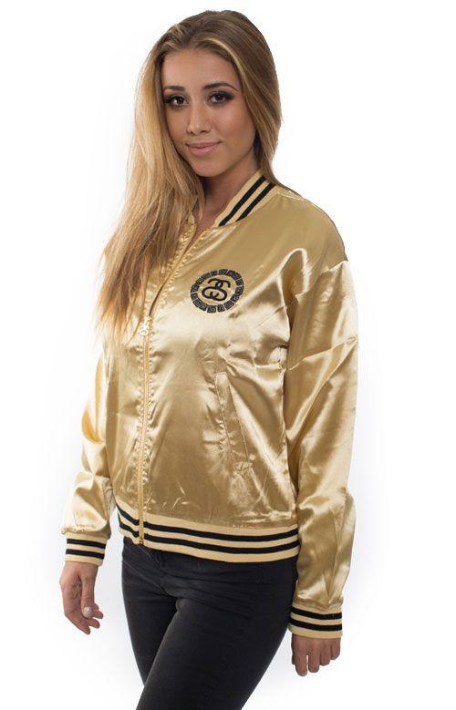 STUSSY GOLD BOMBER JACKET | ss &3915 | Pinterest | Bomber jackets