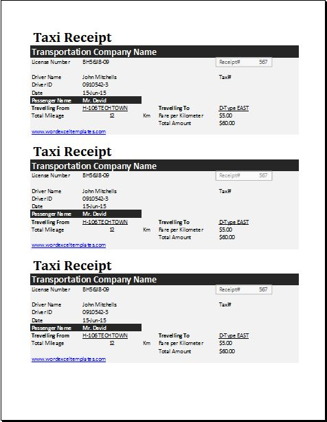 Taxi receipt template DOWNLOAD at http\/\/wwwwordexceltemplates - how to make a receipt in word