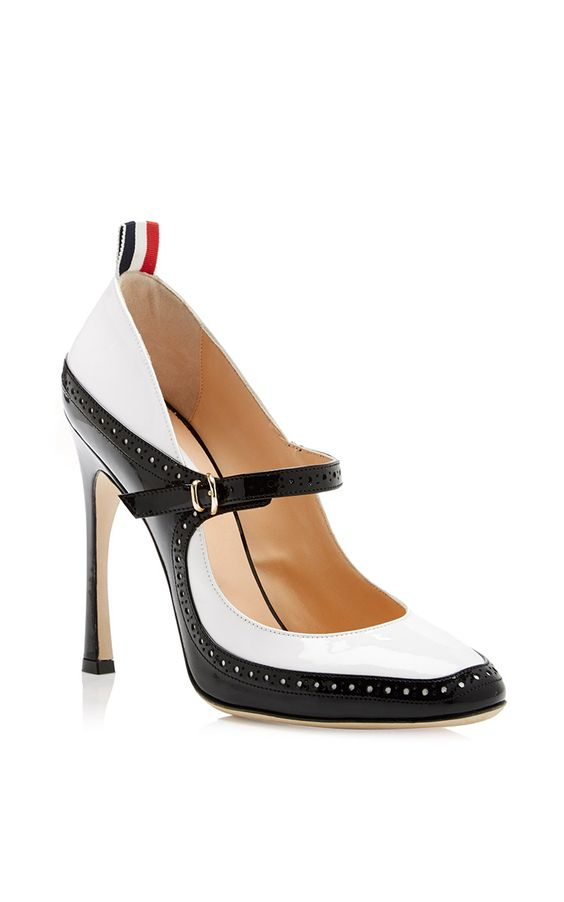 Patent-Leather Mary Jane Spectator Pumps by Thom Browne - Moda Operandi