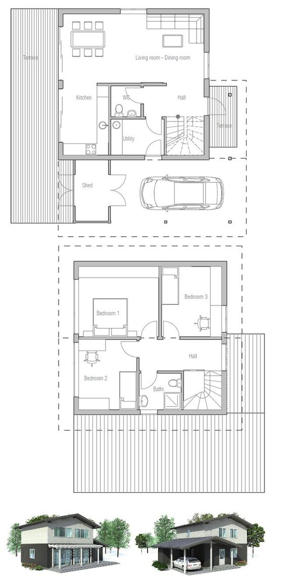 Small House Plan To Small Narrow Lot Full Wall Height