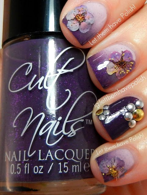 Cult Nails Spontaneous Studded, Dried and Gradient #prom #purple