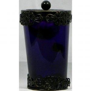 Glass Tea Light Holder Deep Purple with Filigris Top