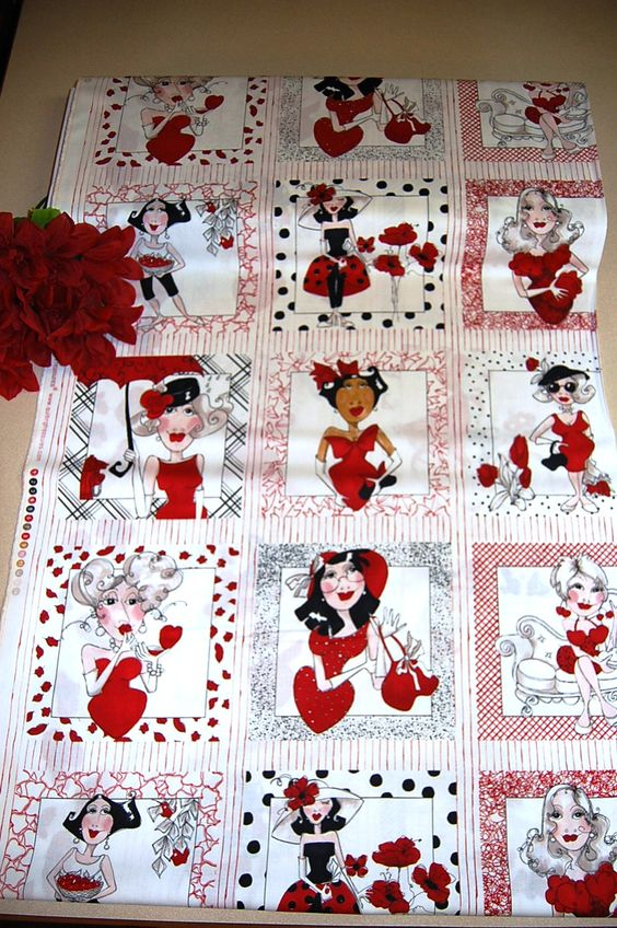 """Lady in Red"" Fabric! Beautiful art Panels for SALE! Get creative!"