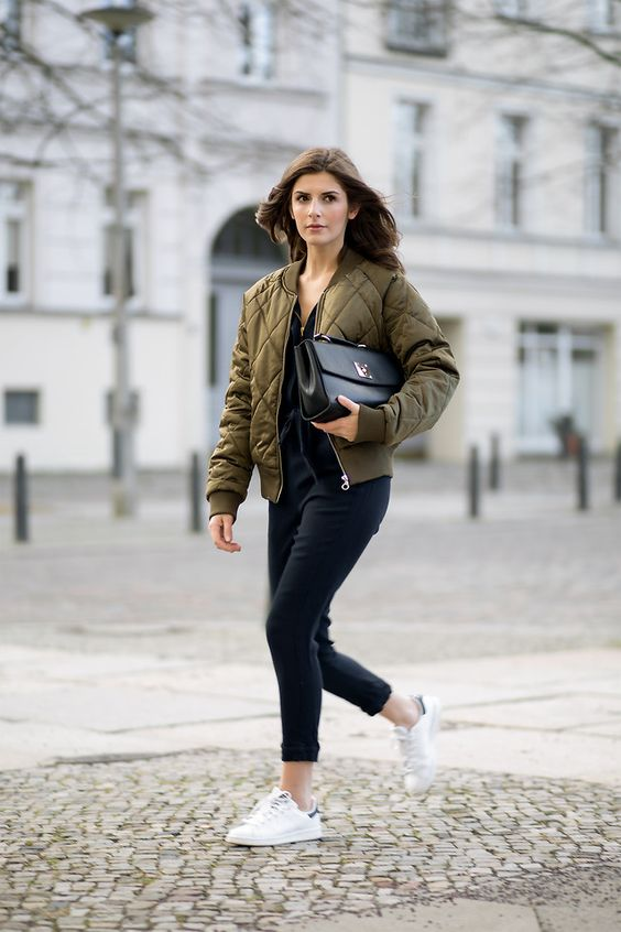 Valerie H. - comfy an chic with a bomber jacket
