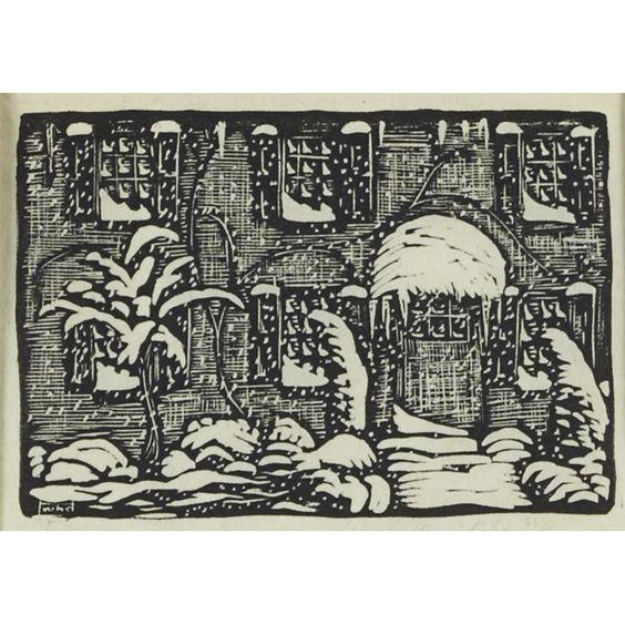 """WHARTON ESHERICK (American, 1887-1970)  Woodblock print  """"December"""""""