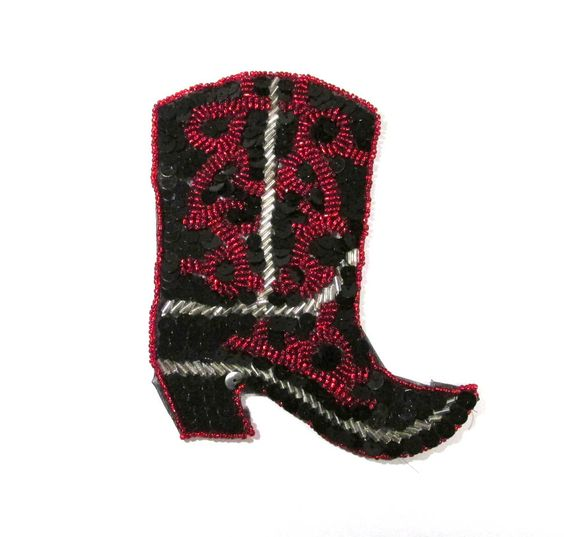 Hand Stitched Beaded Sequin Appliques VINTAGE Cowboy Boot Beaded Applique Handmade Beaded Stitched Vintage Sewing Supplies (D60) by punksrus on Etsy