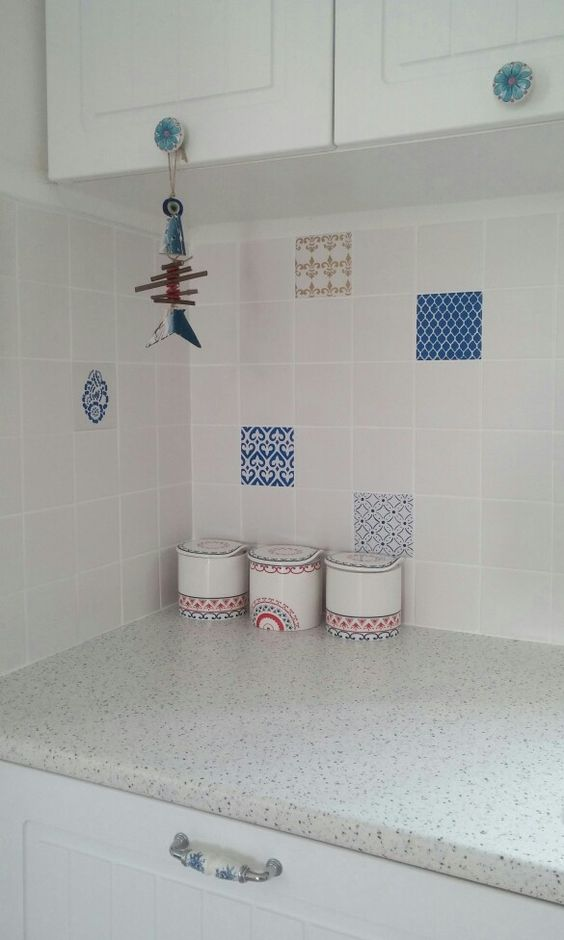 kitchen , tiles , country , shabby , blue , mexican , blue and white , jar