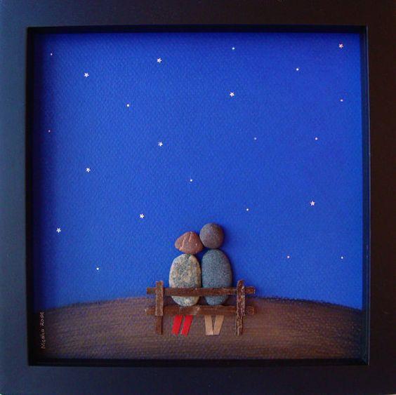 Engagement unique-mariage cadeau - anniversaire cadeau-retraite Saint Valentin cadeau - cadeau fête des cadeaux - amour - Art cadeau-galets du COUPLE