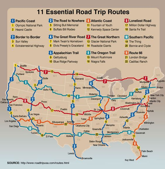 11 Essential Road Trip Routes. (Graphic via ROAD TRIP USA: The Routes)