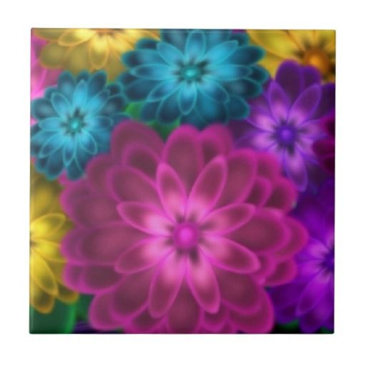 """Colorful Daisies Ceramic Tile Detail of my """"Daisies In Vase"""" painting. Rich teal, pink, purple, and yellow.  Click on the """"Customize it!"""" button for more options.  Artwork by Karlajkitty"""
